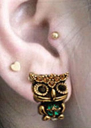 Owl Style Rhinestone Crystal Ear Stud