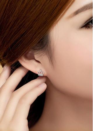 925 Sterling Silver Crown Crystal Earrings