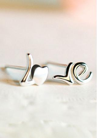 925 Sterling Silver Heart LOVE Ear Stud