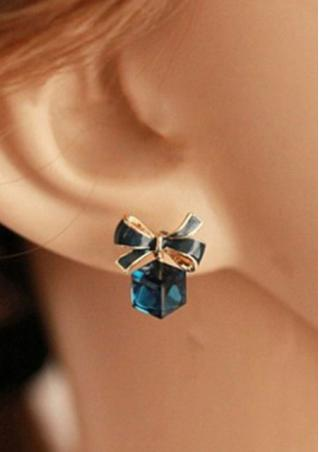 Blue Bow Knot Crystal Earring Blue