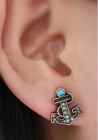 Blue Crystal Rhinestone Anchor Earrings