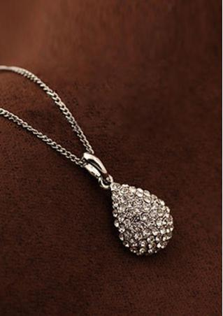 Shiny Waterdrop Rhinestone Crystal Necklace