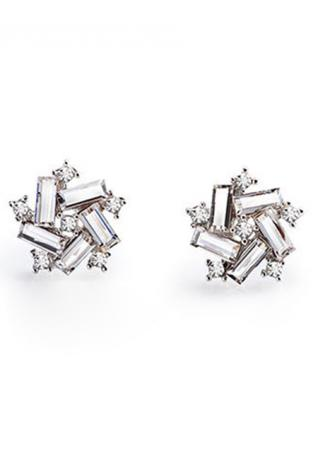 Silver Crystal Five Star Ear Stud