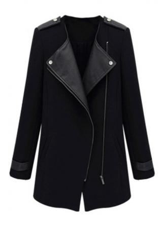 PU Leather Zipper Woolen Coat PU