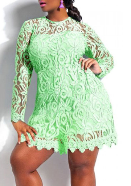 Image of Long Sleeve Plus Size Lace Romper
