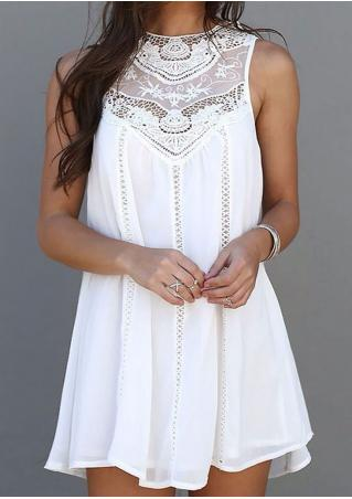 Lace Splicing Chiffon Mini Dress