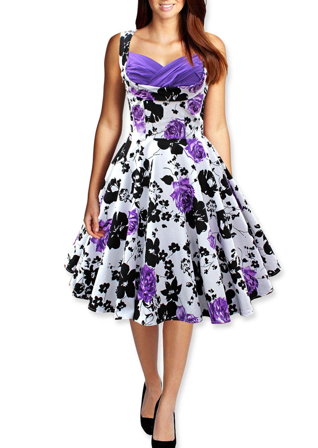 Rochie midi, în cloș, fashion, plisată, fără mâneci, cu imprimeu floral