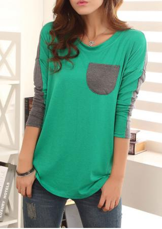 Pocket Splicing Long Sleeves Blouse