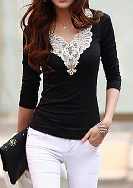 Bluză de damă, fashion, slim fit, cu dantelă și mâneci lungi