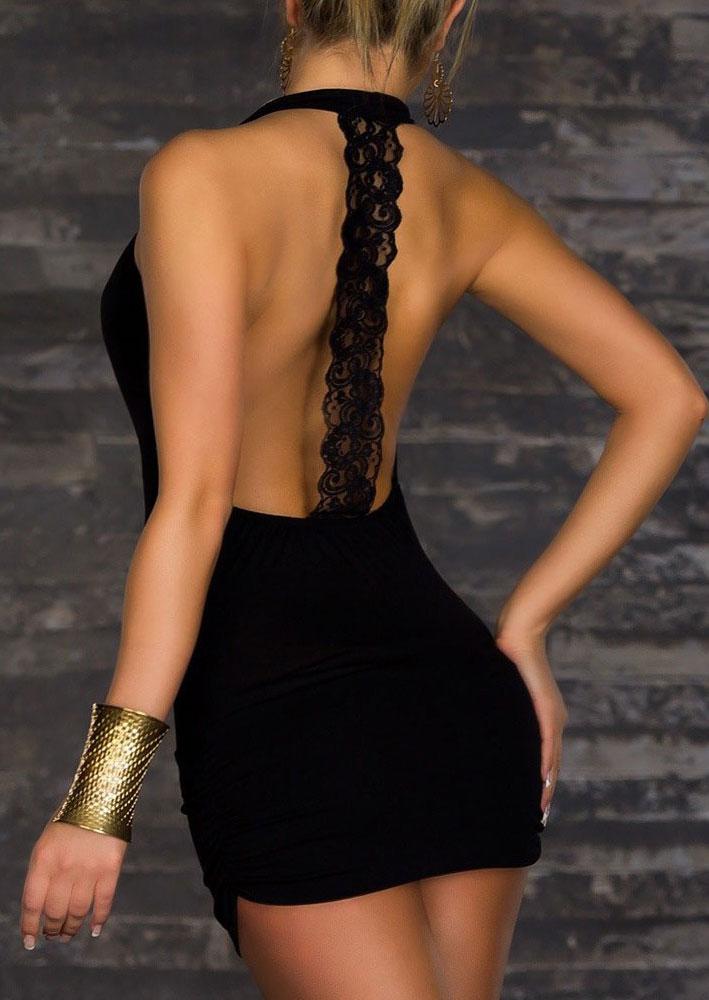 Rochie scurtă, sexy, fashion, mulată, cu dantelă, fără mâneci și spatele gol