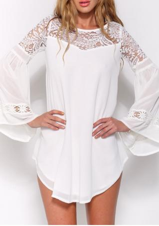 Long Sleeve Lace Insert Hollow Chiffon Blouse