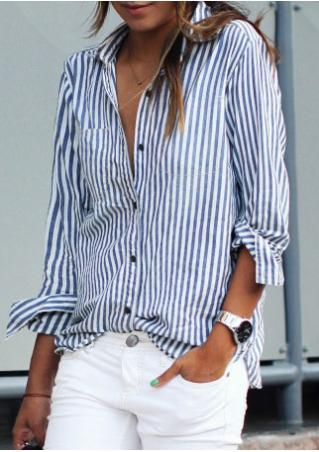 Lapel Vertical Striped Shirt
