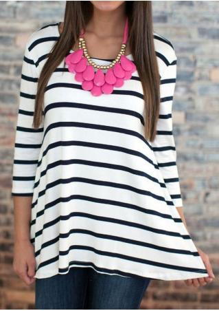 White Striped Dip Hem Blouse