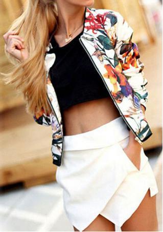Floral Zip Up Long Sleeve Jacket
