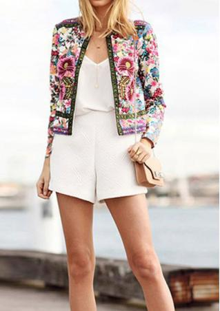 Floral Zip Up Long Sleeve Fashion Jacket