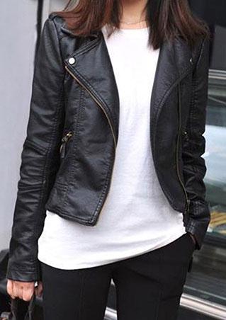 Jachetă de damă, fashion, din piele ecologică, cu fermoar frontal și buzunare laterale
