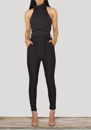 Turtleneck Sleeveless Jumpsuit