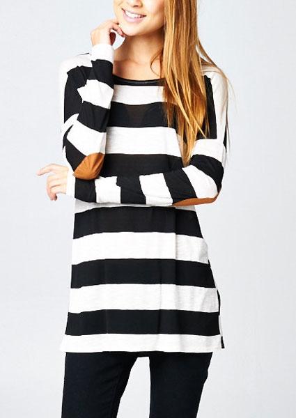 Bluză de damă, casual, slim fit, cu dungi, mâneci lungi și guler rotund