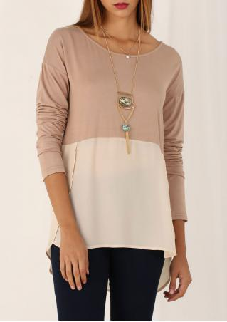 Long Sleeve High Low Hem Blouse