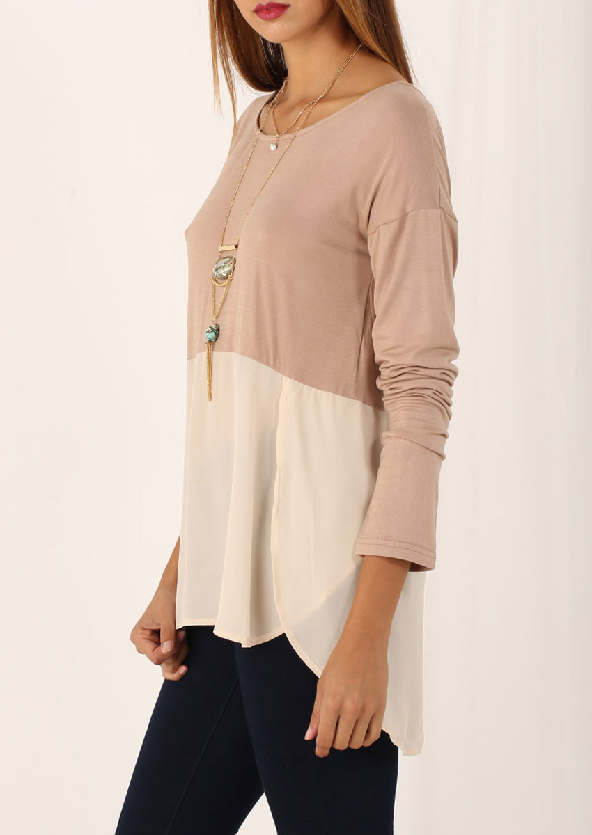 Long Sleeve High Low Hem Blouse Fairyseason