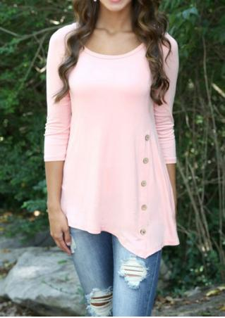 Round Neck Side Buttons Blouse