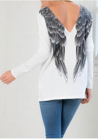 White Backless Wings Print Blouse