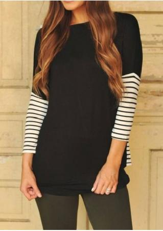 Round Neck Contrast Striped Blouse