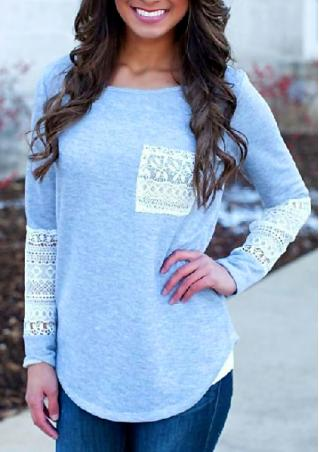 Lace Long Sleeve Pocket Blouse