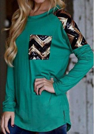 Sequin Wave Long Sleeve Blouse