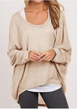 Long Sleeve Pure Color Blouse