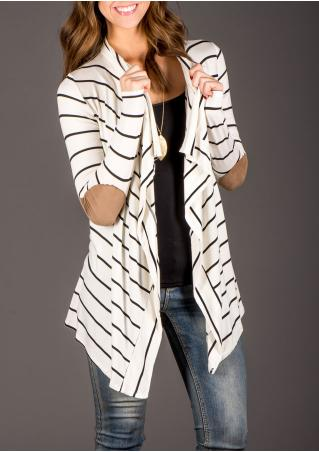 Long Sleeve Spliced Striped Cardigan