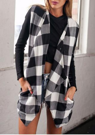 Checked Print Knitted Turn-Down Collar Coat