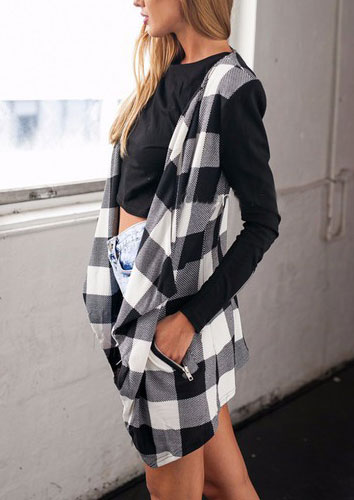 Image of Checked Print Knitted Turn-Down Collar Coat