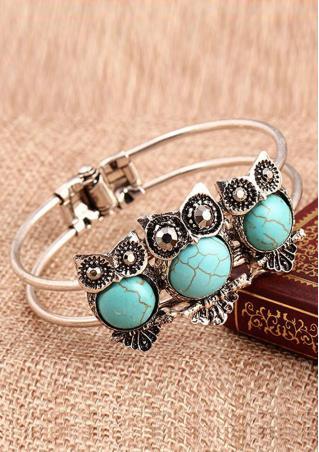Owl Turquoise Cuff Bangle Bracelet