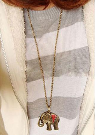 Elephant Sweater Chain Necklace