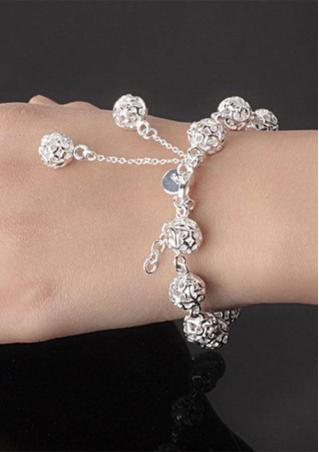 Hollow Ball Silver Bracelet