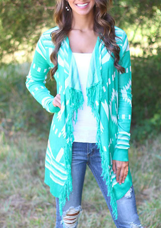 Turn-Down Collar Fringed Print Cardigan