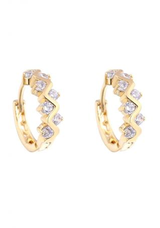 White Crystal Zircon Hoop Earrings