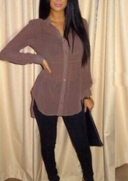 Cămașă de damă, fashion, din poliester, cu mâneci lungi, guler clasic și tiv asimetric