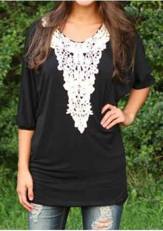 3/4 Sleeve Lace Spliced Blouse