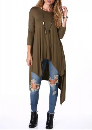 Half Sleeves Loose-Fitting Asymmetrical Blouse