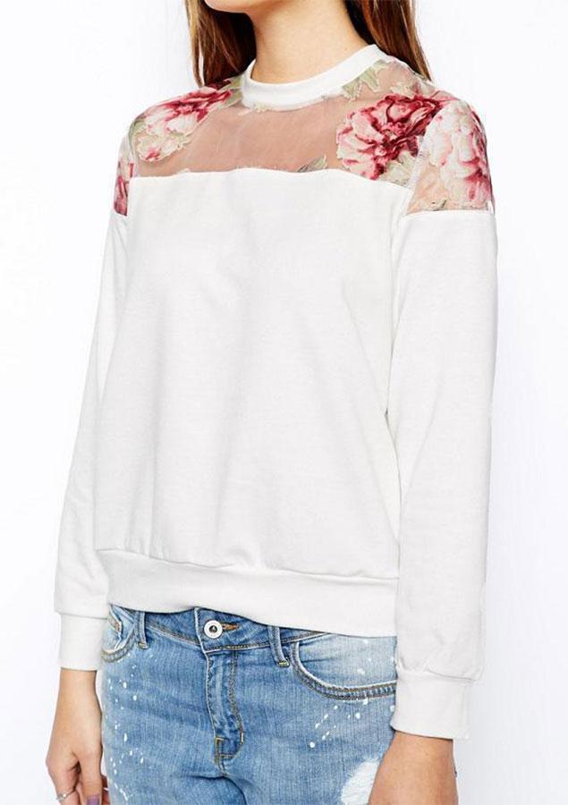 Bluză de damă, fashion, slim fit, din poliester, cu mâneci lungi, inserții mesh și imprimeu floral