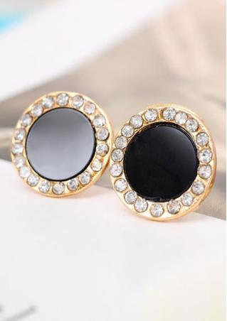 Black Diamond Round Ear Stud