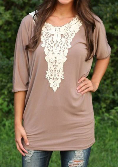 Image of 3/4 Sleeve Lace Spliced Blouse