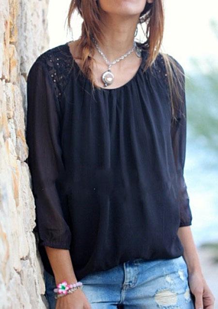 Bluză de damă, elegantă, casual, din șifon, cu paiete și mâneci lungi