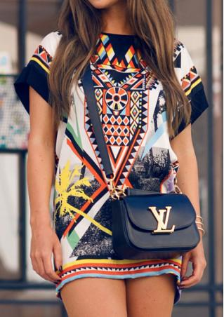 Geometric Printed Short Sleeve Mini Dress