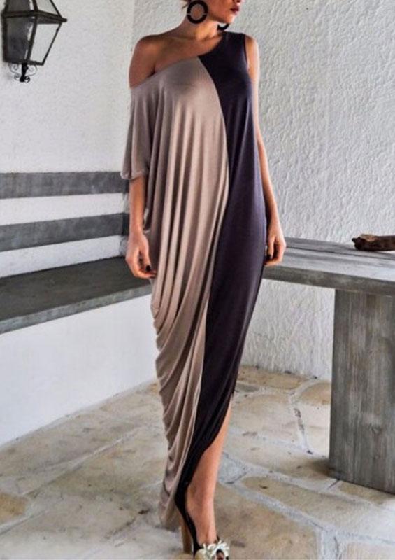 Rochie lungă, asimetrică, din poliester, cu mâneci scurte și un umăr gol