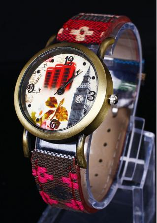 Flower Print Denim Strap Wristwatch