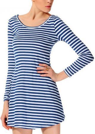 Stripe Long Sleeve Mini Dress