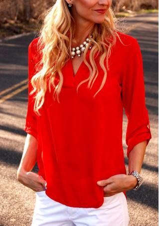 Solid Chiffon V Neck Blouse